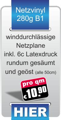 Werbeplanen aus winddurchlässiger Mesh-Netzplane für 10,90 € ab dem ersten Quadratmeter Werbeplane