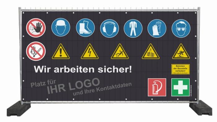 Werbeplane mit Sicherheitssymbolen